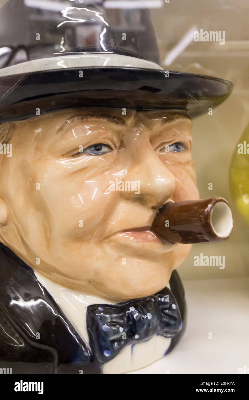 Winston Churchill Teapot at Teapot Island Yalding Kent with over 7,000 different Teapots on Display - Stock Image