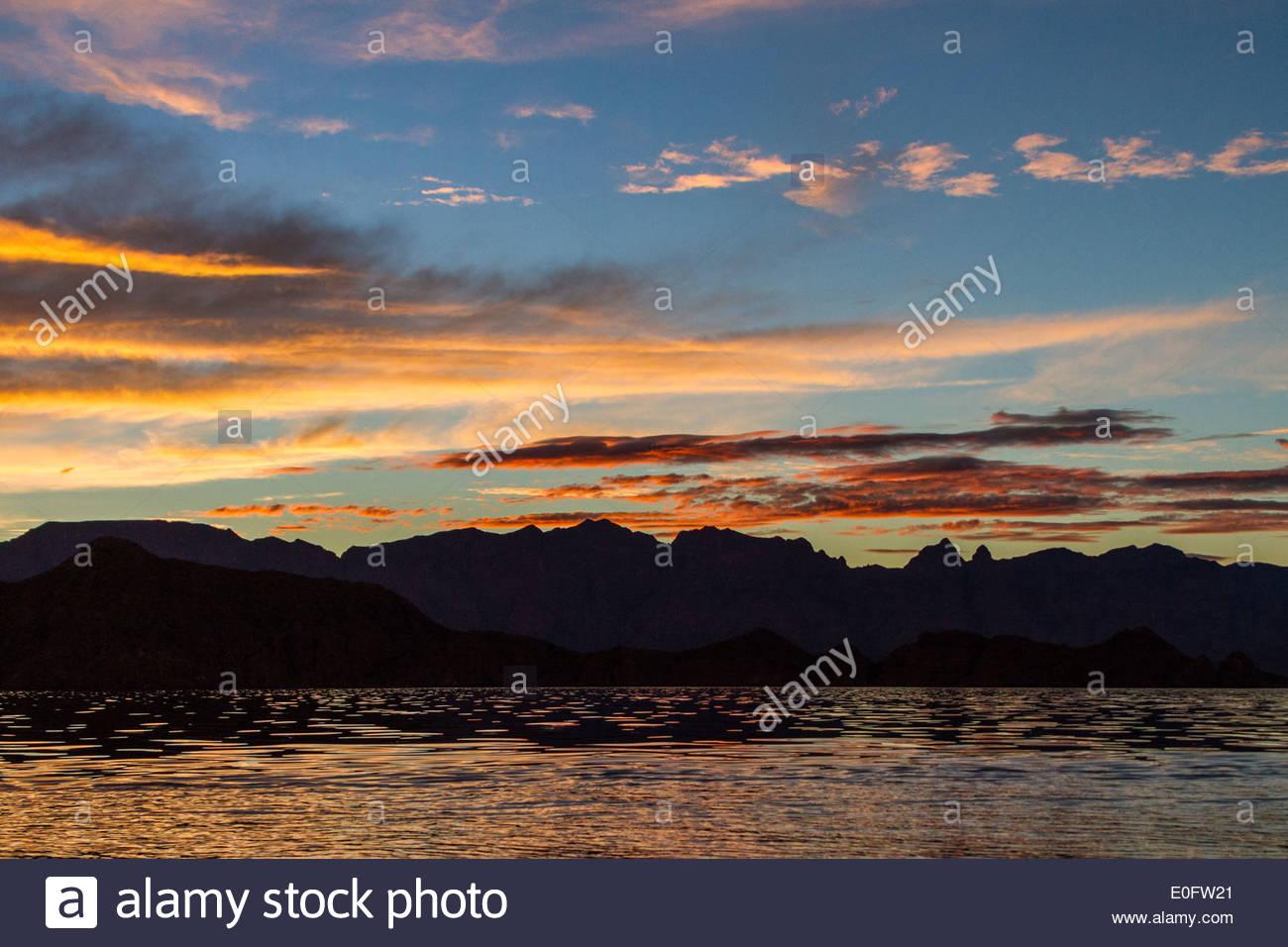 Sunrise over the Baja Peninsula of Mexico - Stock Image
