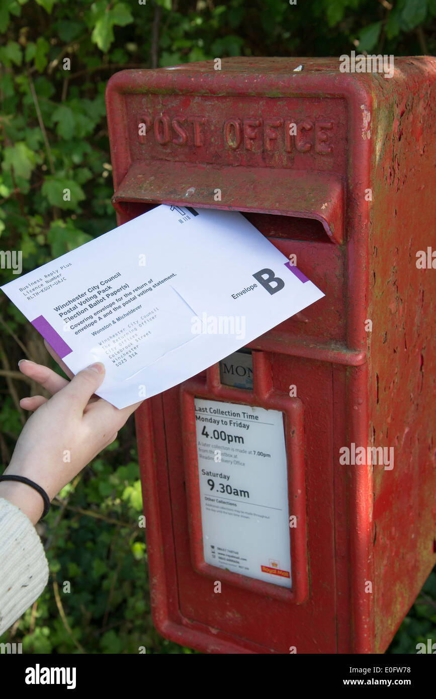 Postal vote envelope being placed into a letter box Envelope containing completed ballot paper - Stock Image