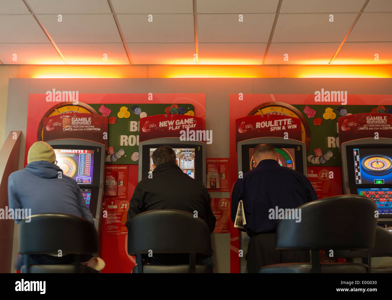 Fixed odds gaming machines in Ladbrokes Betting shop. UK - Stock Image
