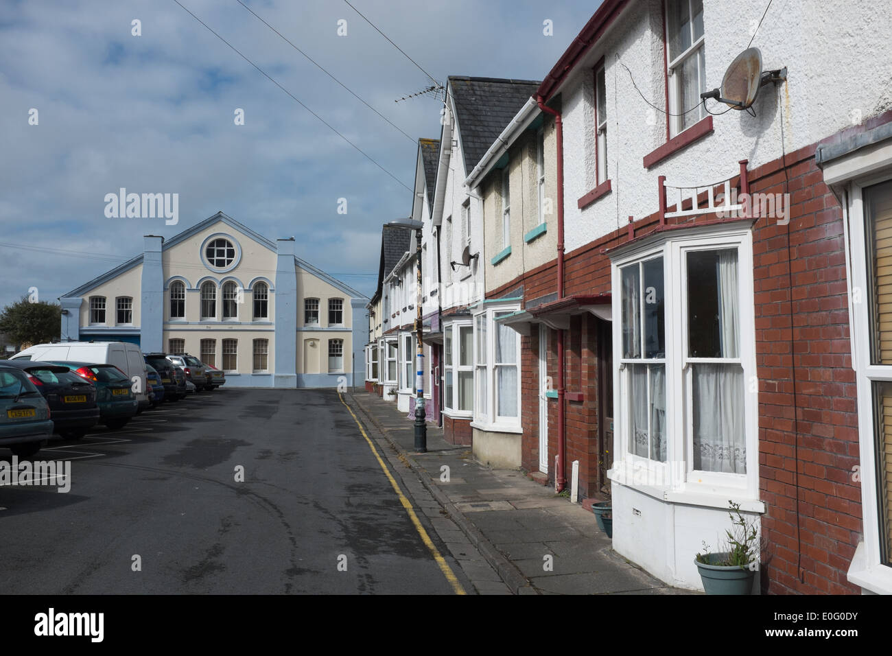 Glyndwr Road in Aberystwyth, due to be demolished if a development proposal is approved to build a Tesco store on the site. - Stock Image