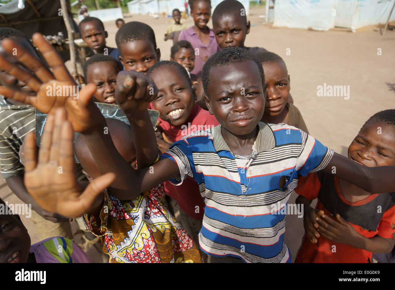 Children refugees from Central African Republic in Boyabu refugee camp in Democratic Republic of Congo, DRC - Stock Image