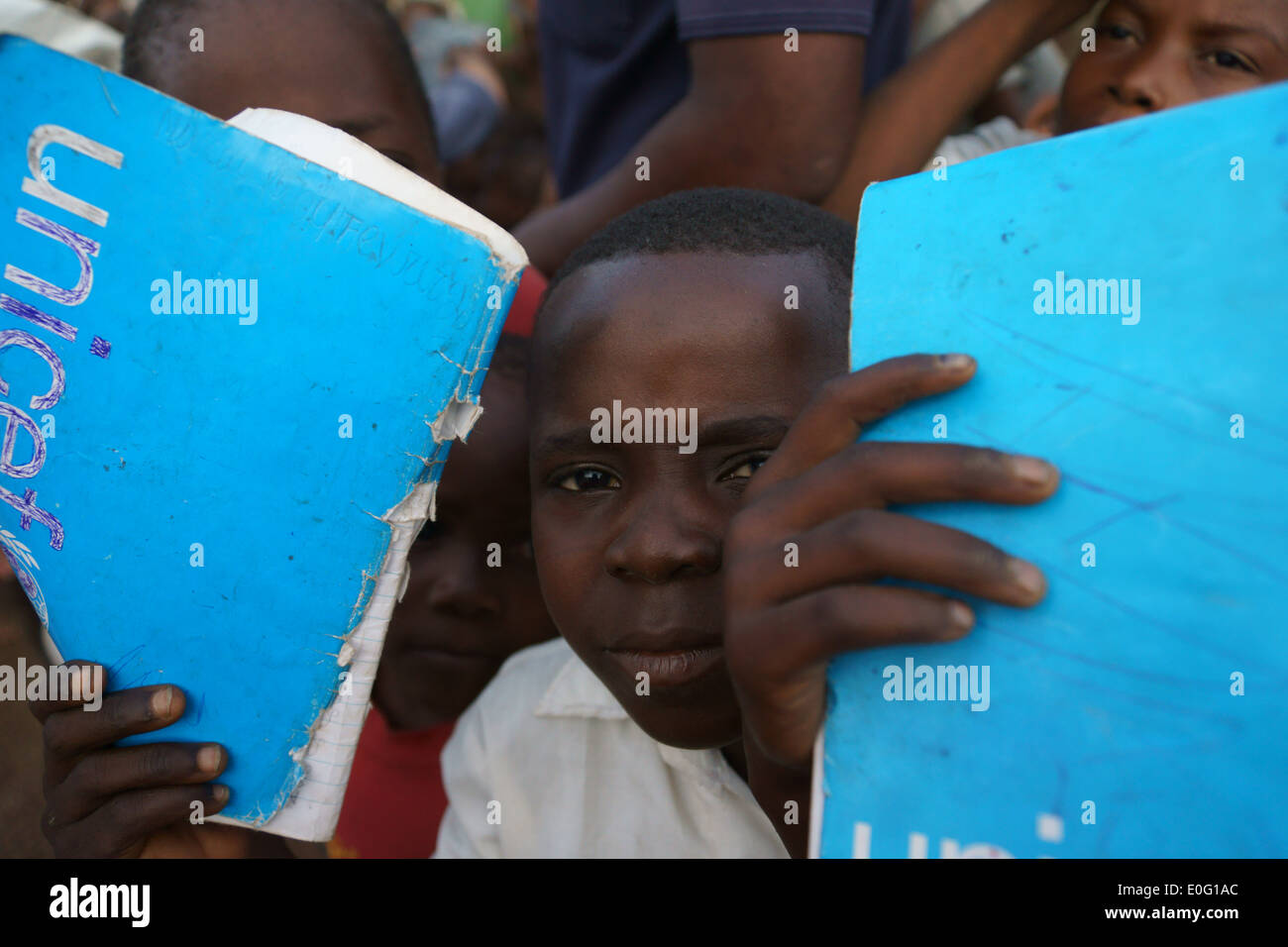 Child refugees from Central African Republic , in Boyabu refugee camp in Democratic Republic of Congo, DRC - Stock Image