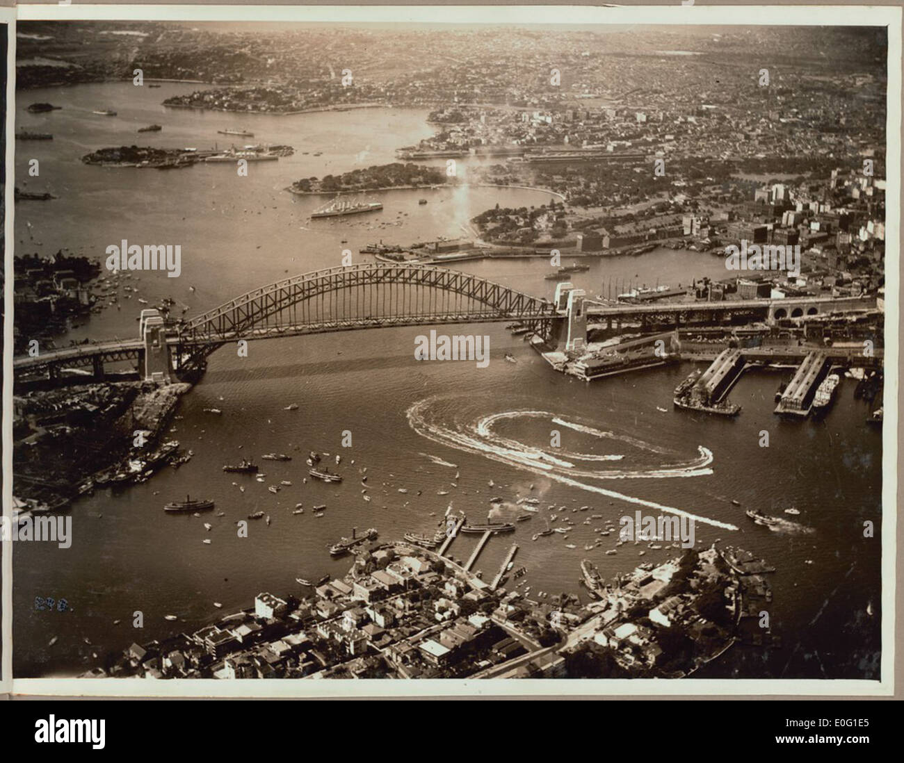 Aerial view of the speed boat display after the official opening celebrations of the Sydney Harbour Bridge, 19 March, 1932 - Stock Image