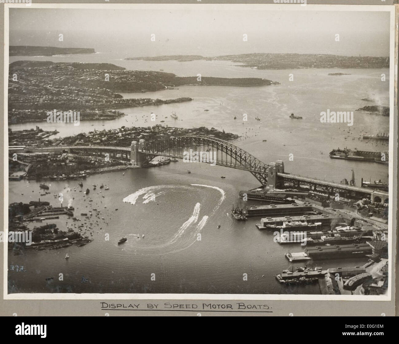 Sydney Harbour Bridge and display of speed boats, 19 March 1932 - Stock Image