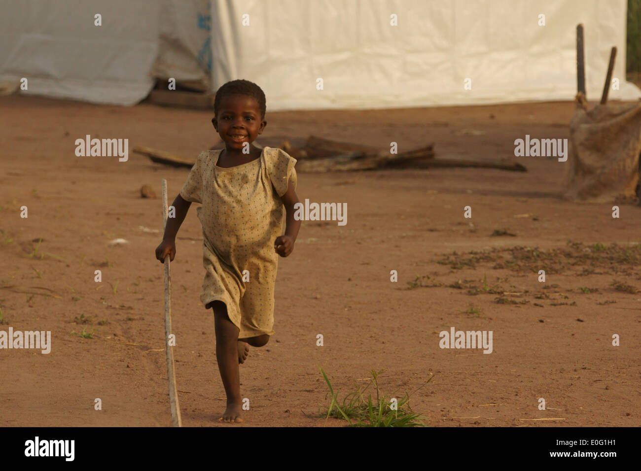 Child refugee from Central African Republic , in Boyabu refugee camp in Democratic Republic of Congo, DRC - Stock Image
