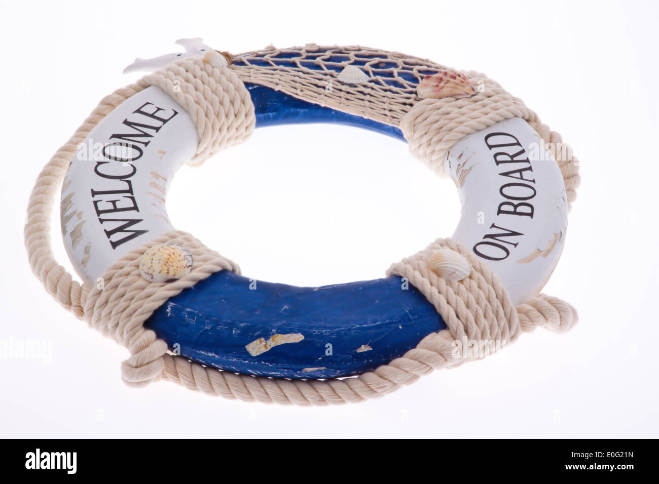 Life preserver, isolated before wei ? ?em background, Rettungsring, isoliert vor weißem Hintergrund - Stock Image