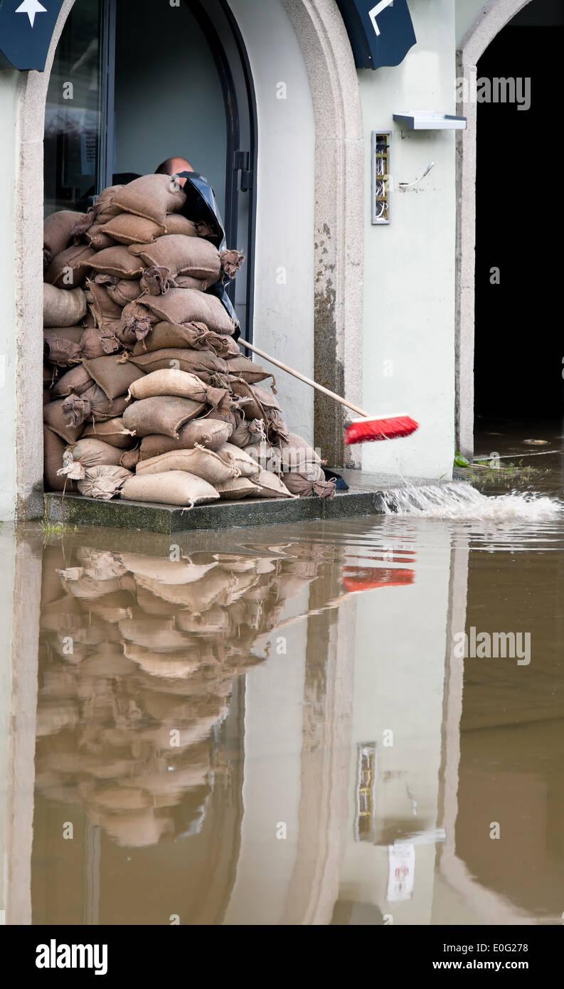 High water in Passau. Bavaria. Germany, Hochwasser in Passau. Bayern. Deutschland - Stock Image
