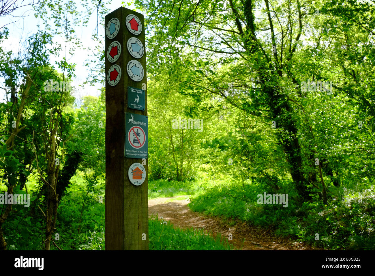 Public Rights of Way marker Post in Hertfordshire - Stock Image
