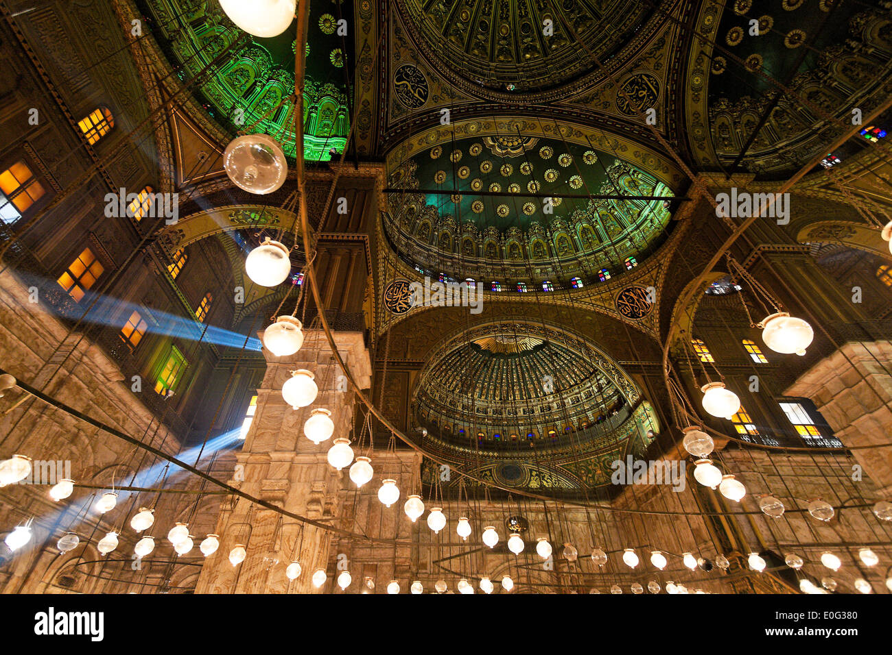 Egypt, Cairo. Mohammed Ali Moschee. Indoor photograph., aegypten, Kairo. Mohammed Ali Moschee. Innenaufnahme. - Stock Image