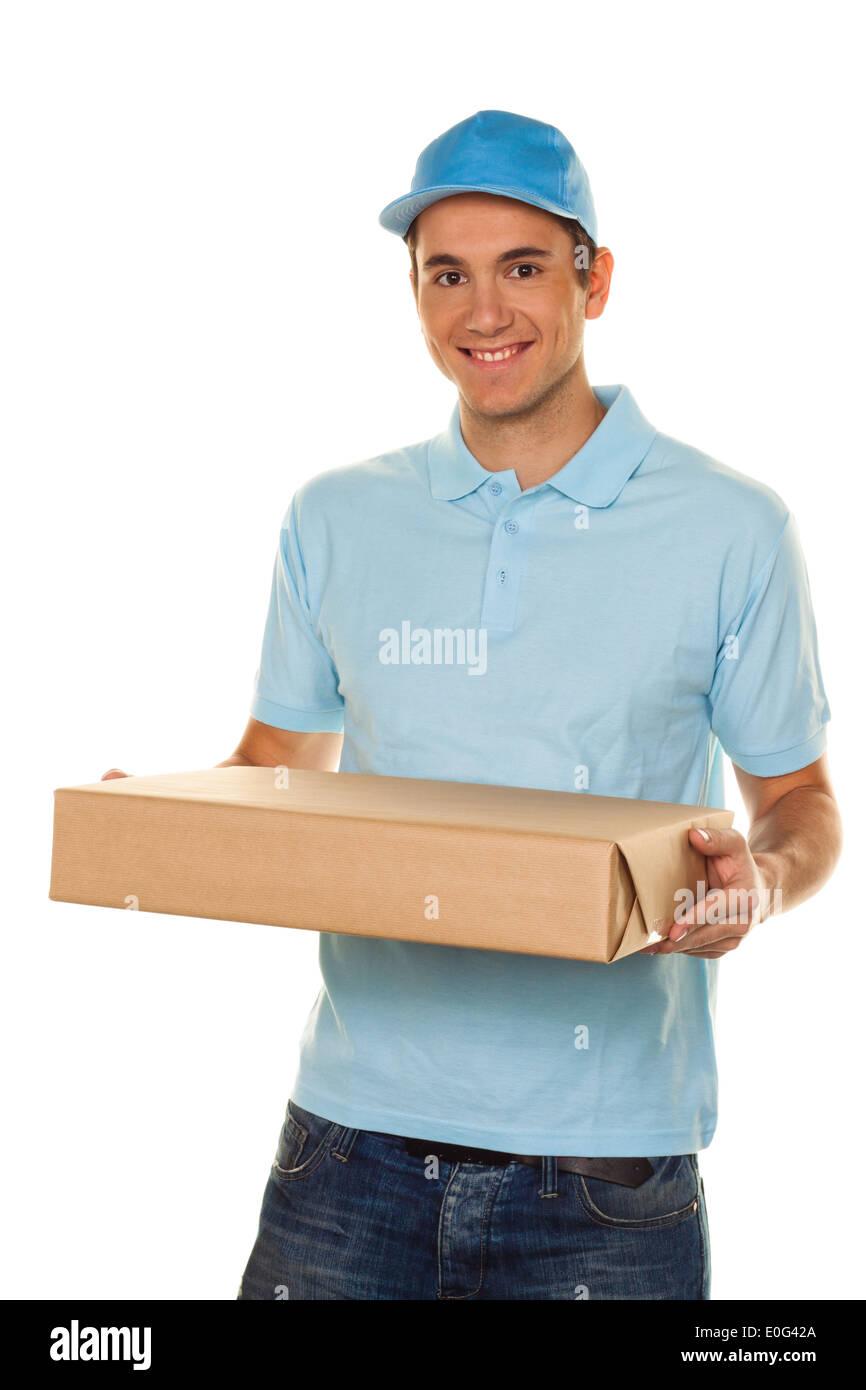 A messenger of messenger service delivers package to post, Ein Bote von Botendienst liefert Post Paket Stock Photo