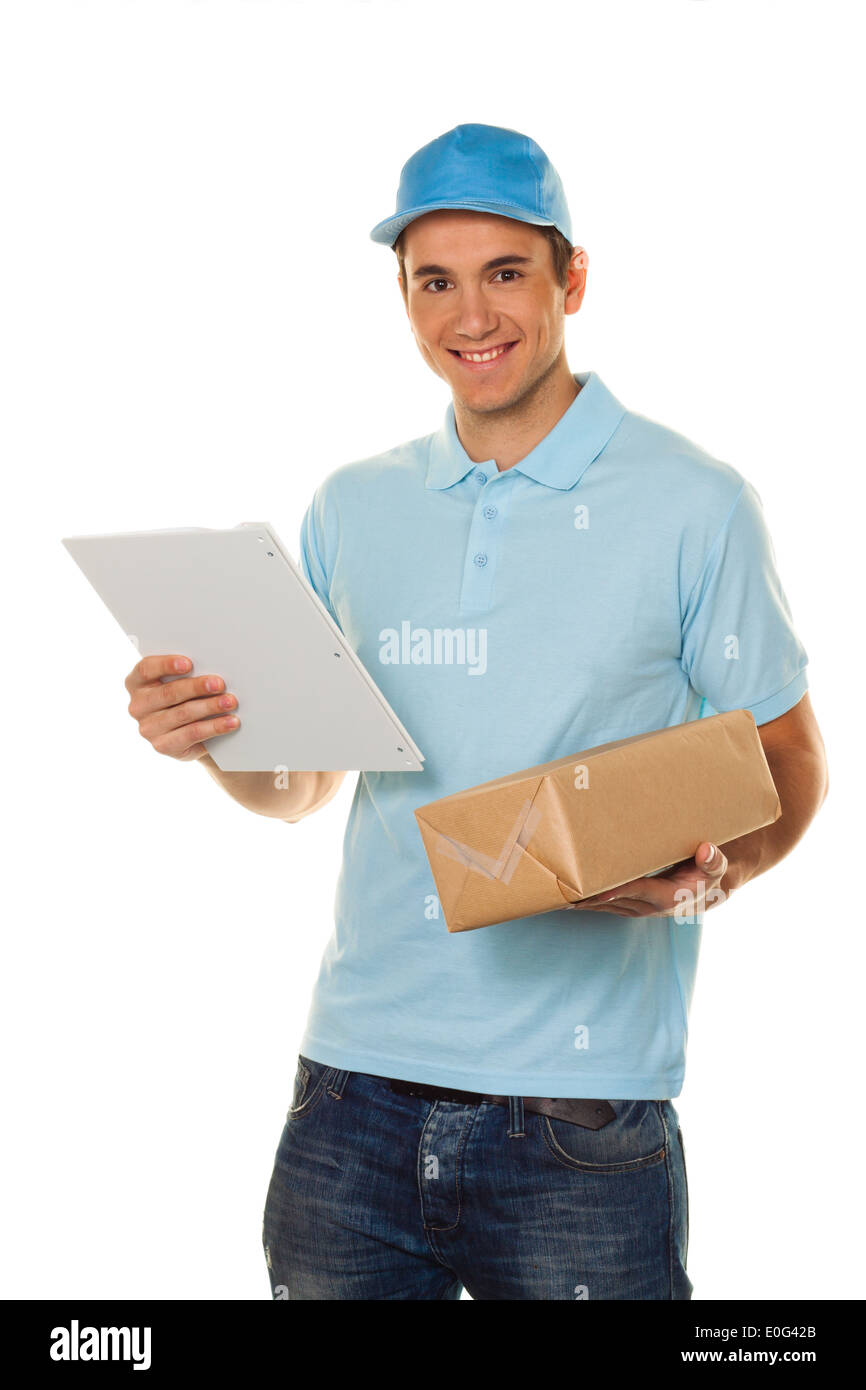 A messenger of messenger service delivers package to post, Ein Bote von Botendienst liefert Post Paket Stock Photo