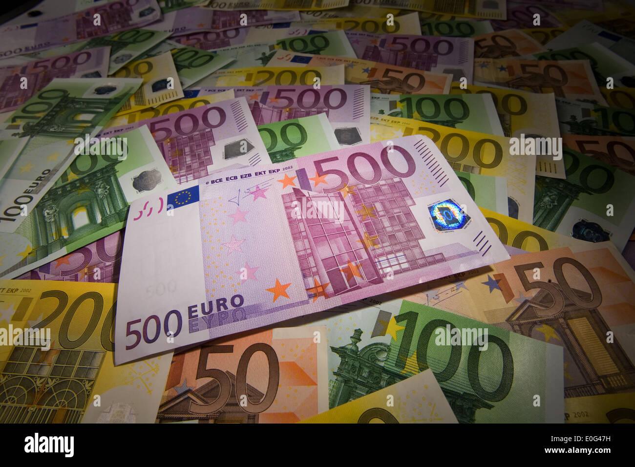 Eurobank notes, Eurogeldscheine Stock Photo