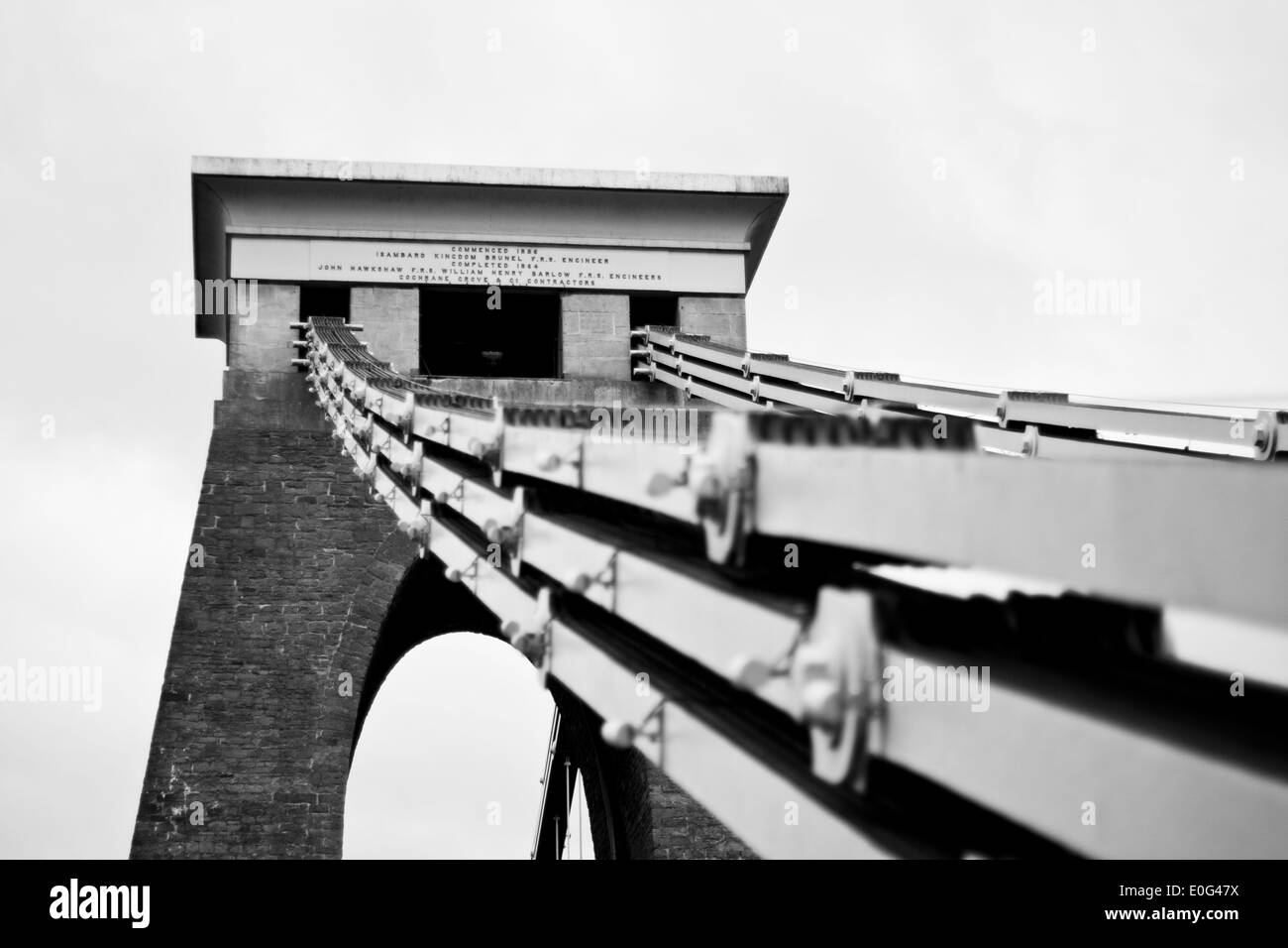 A close up view of the support system of the Clifton Suspension Bridge - Stock Image