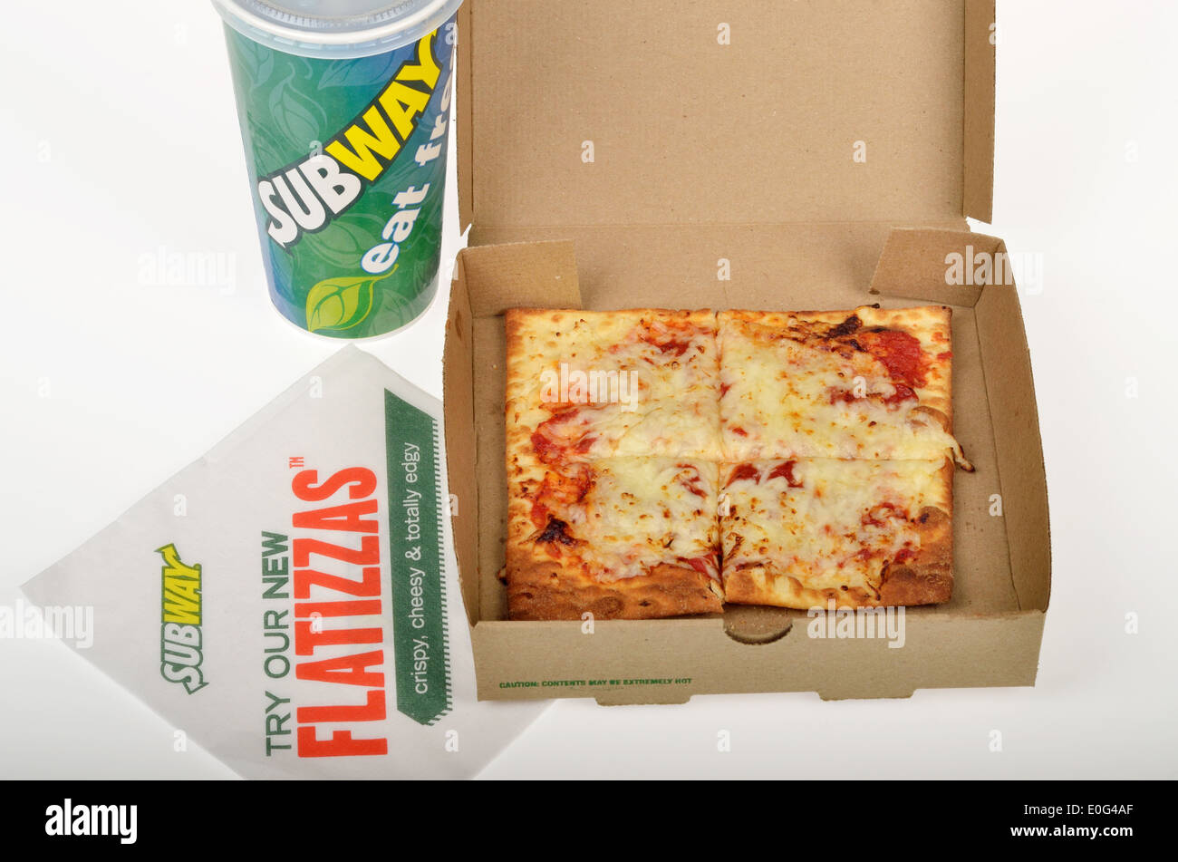 subway fast food flatizza cheese square pizza in box packaging with