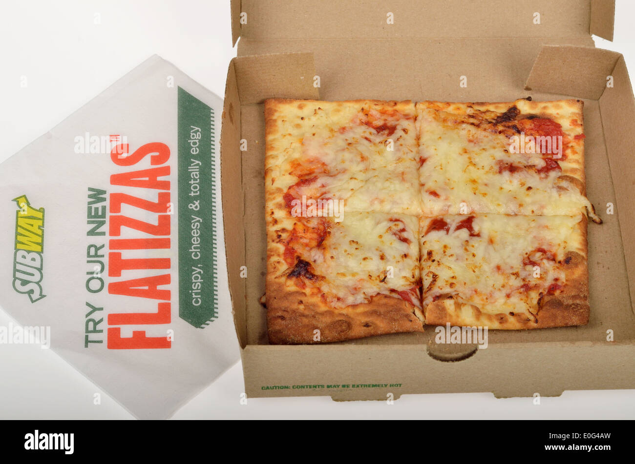 subway fast food flatizza cheese square pizza in box packaging on