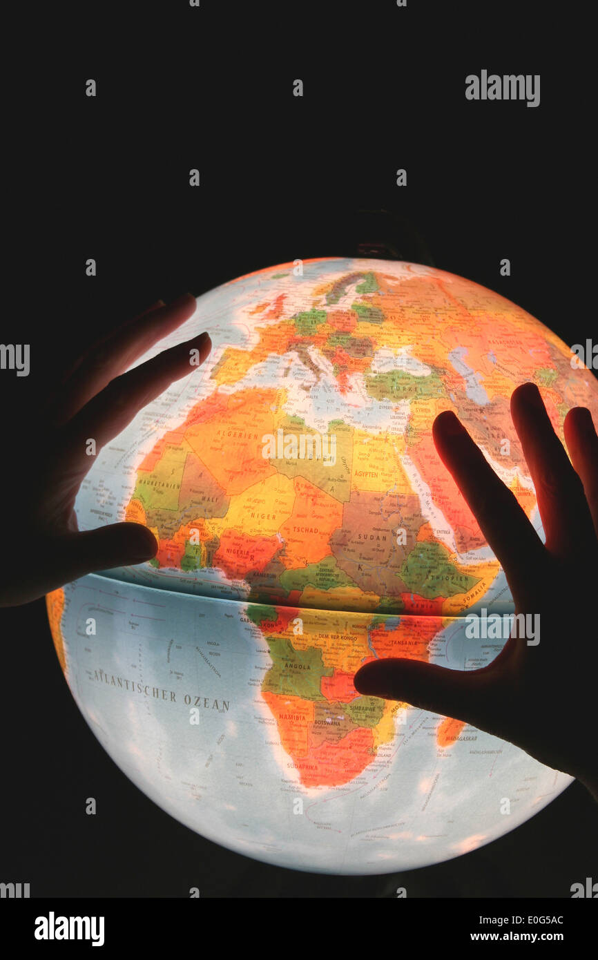 Globe and hands, things, object, objects, device, device, devices, globes, globe, globe, globes, Atlant, atlases, Stock Photo