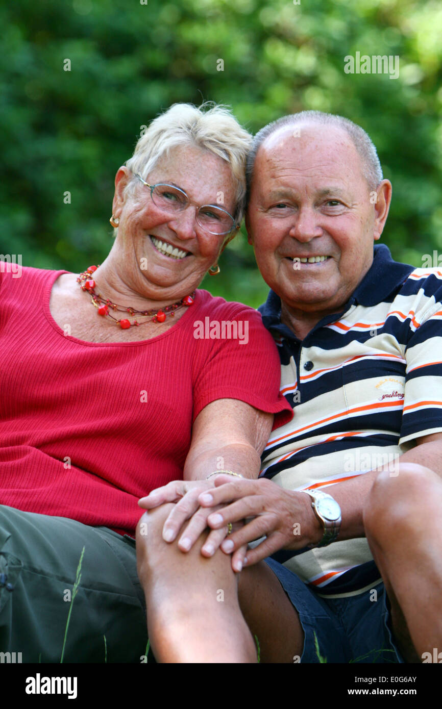 Happy senior citizen's pair [], 60 +, old, old, old men, to old, age, old man, older men, to older, older, older man, age group, - Stock Image