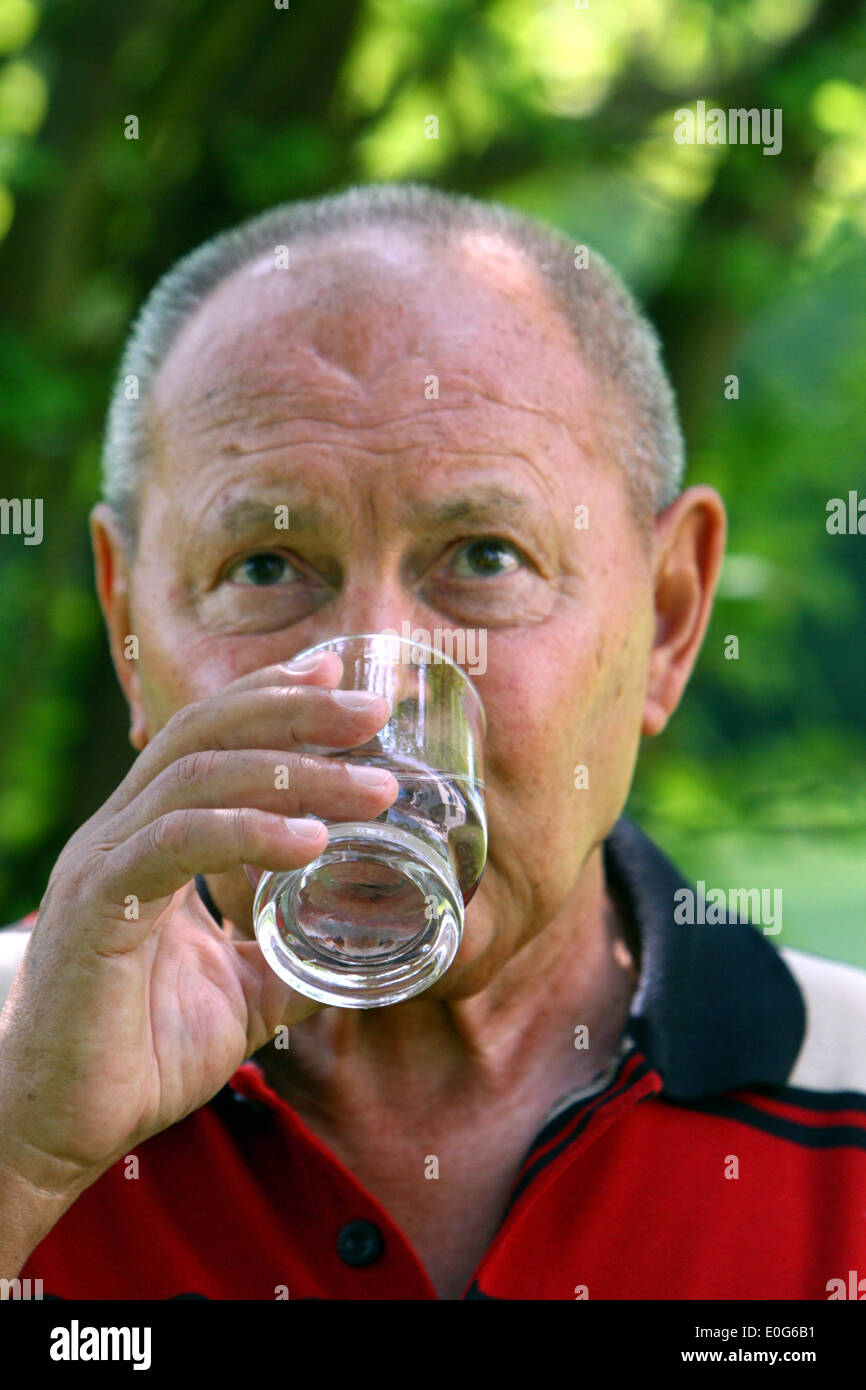 Senior citizens drink water [], 60 +, old, old, old men, to old, age, old man, older men, to older, older, older man, age group, - Stock Image