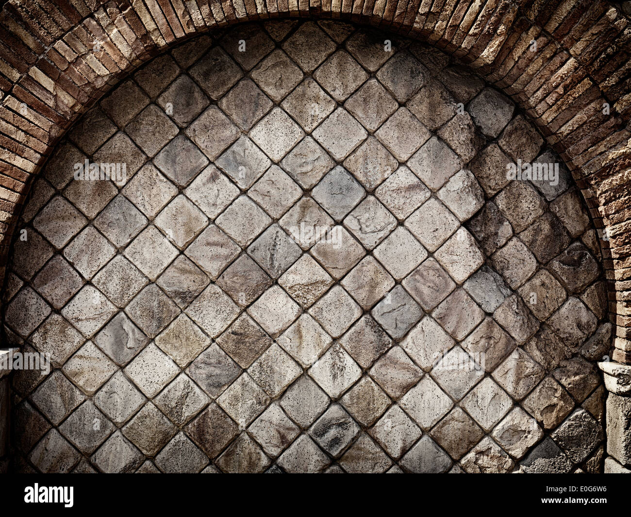 Old Rustic Stone Wall With Brick Arch Grungy Texture Background