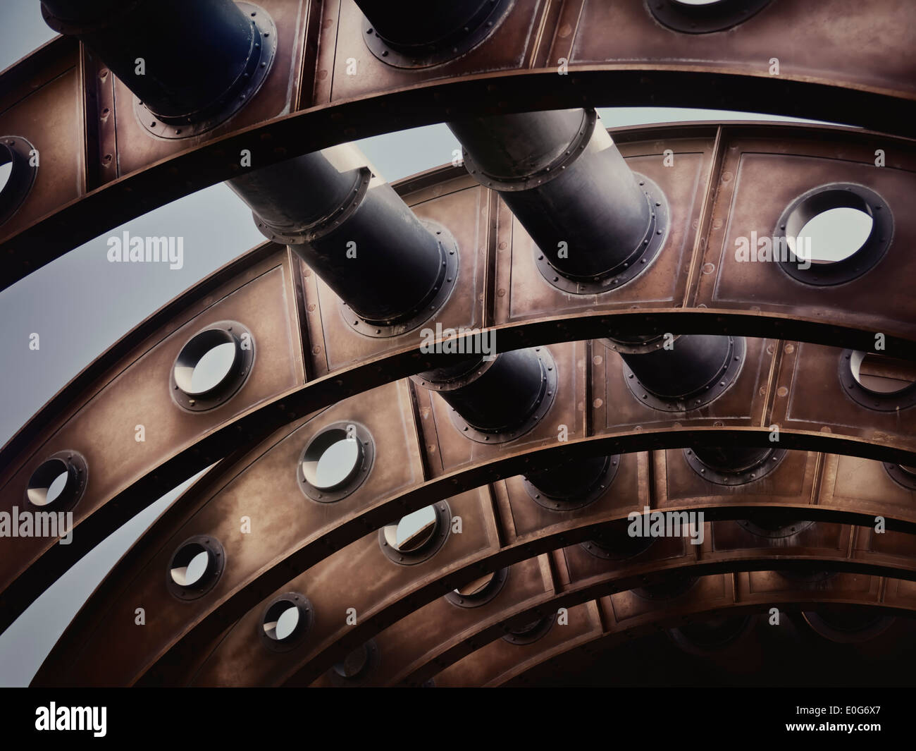 Rustc archway with pipes, structure in steampunk style abstract detail - Stock Image