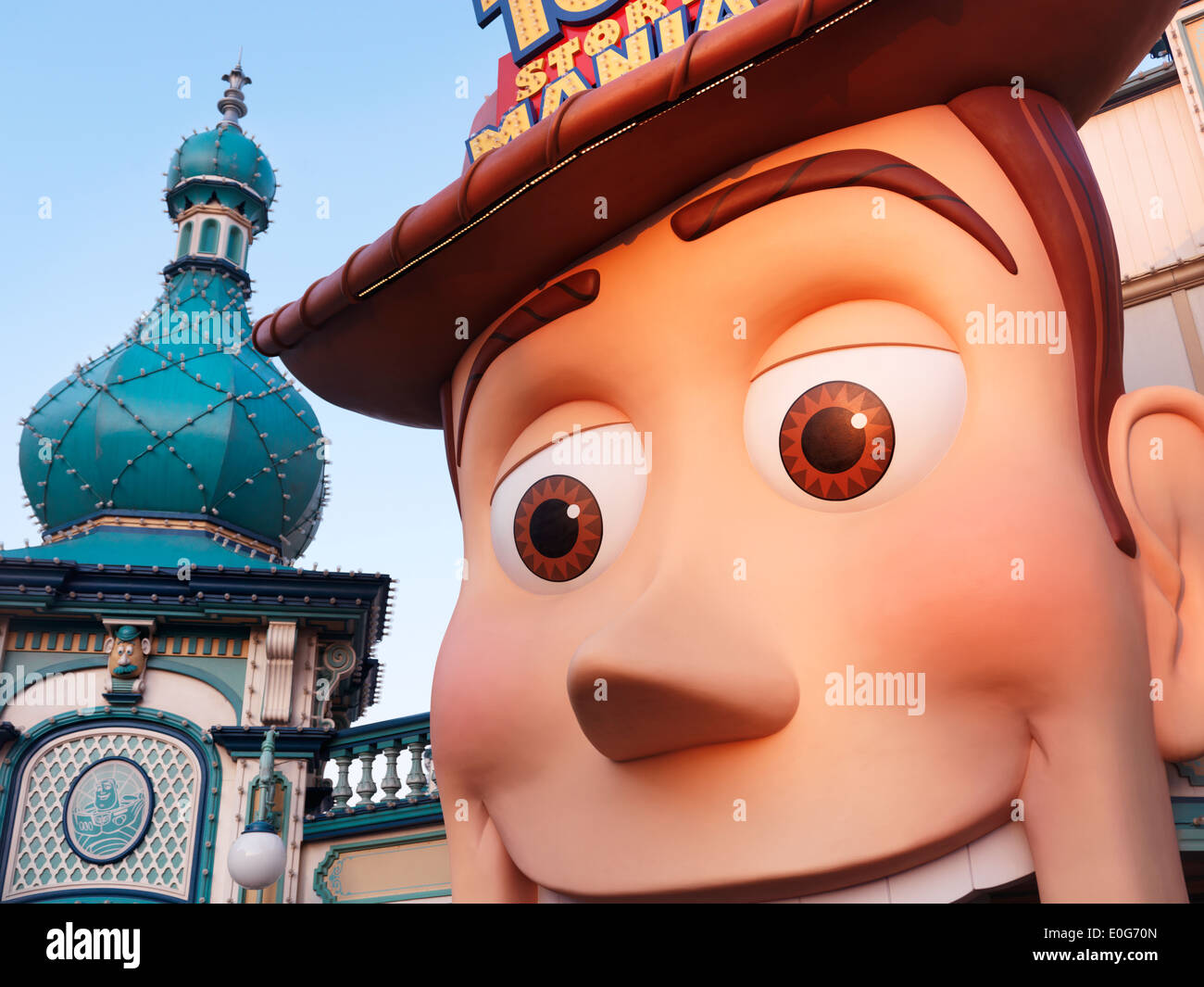 Cowboy Woody face at Toy Story themed attraction at Toyville trolley park, Tokyo Disneysea. Japan. - Stock Image