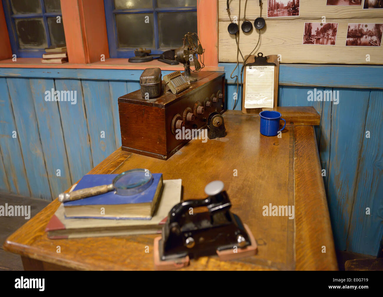 Old radio, historic communication equipment at boat station - Stock Image