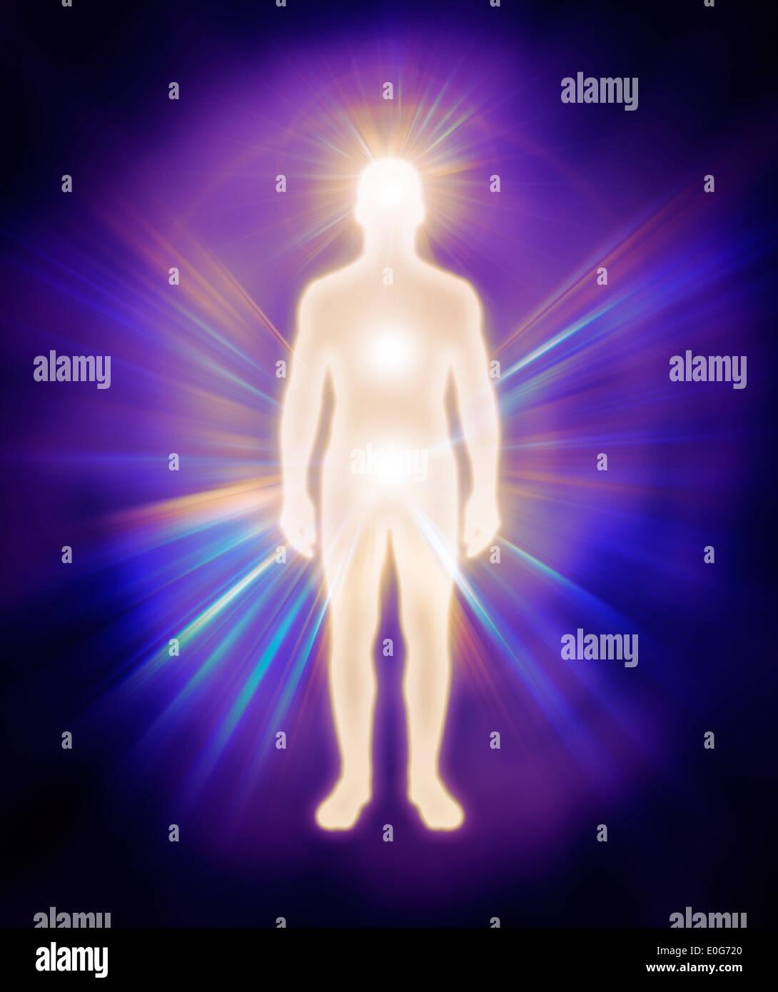 Man energy body. Human luminous being, aura, energy emanations, spiritual concept - Stock Image