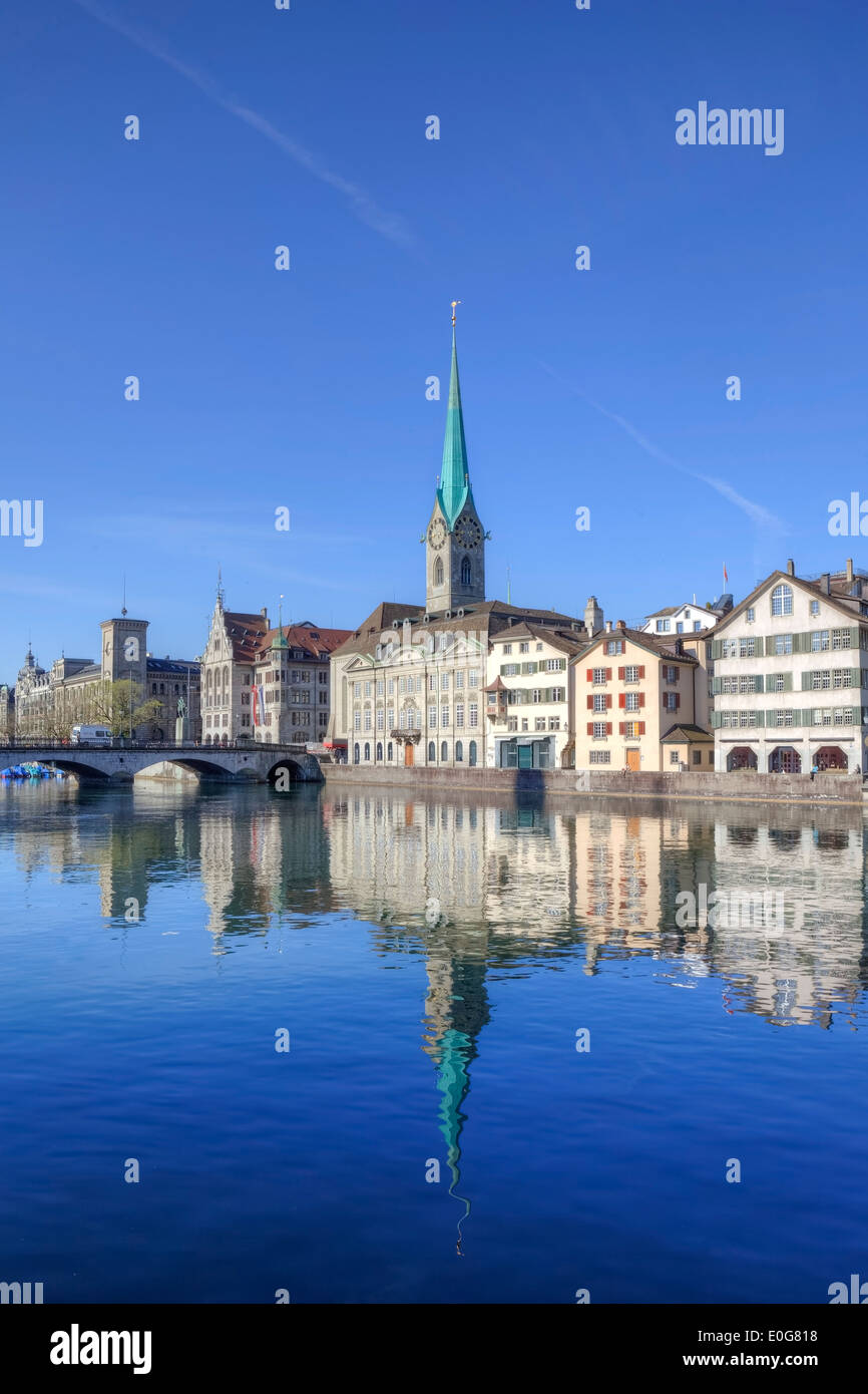 Fraumuenster, church, Limmat, Zurich, Switzerland - Stock Image