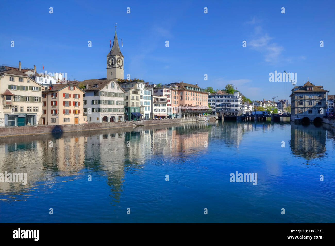 Zurich, St. Peter, church, Wuehre, Limmat, Switzerland - Stock Image