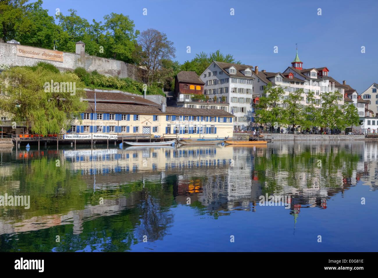 Zurich, Schipfe, old town, Limmat, Switzerland - Stock Image