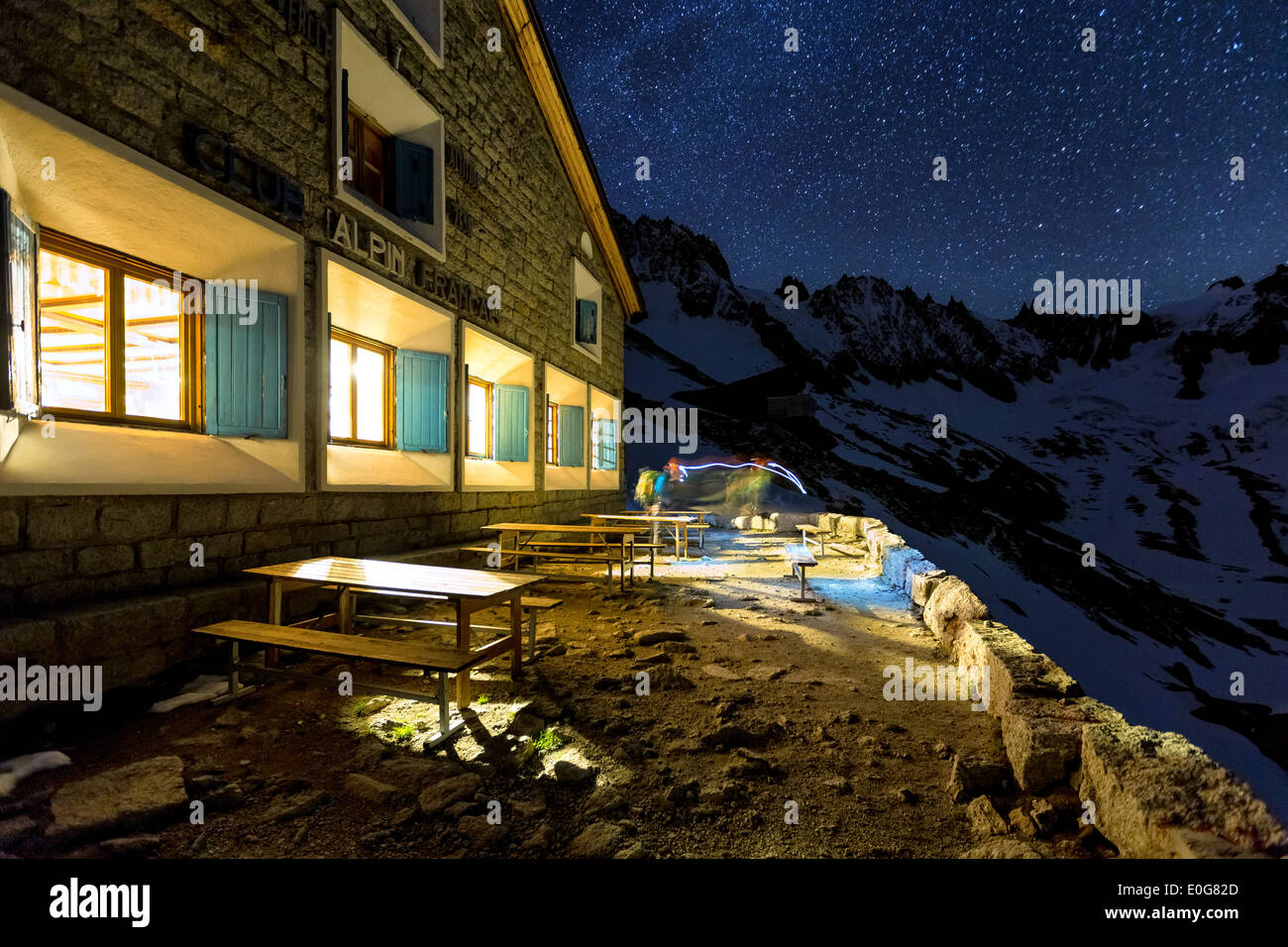 Star and light trails at Couvercle hut near Chamonix, France, Alps, EU - Stock Image