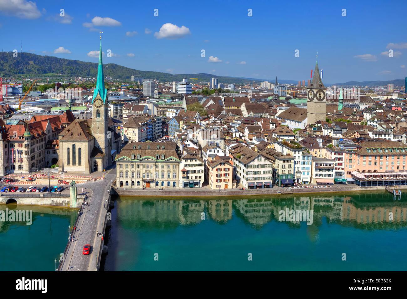 Fraumuenster, St. Peter, church, Limmat, Zurich, Switzerland - Stock Image