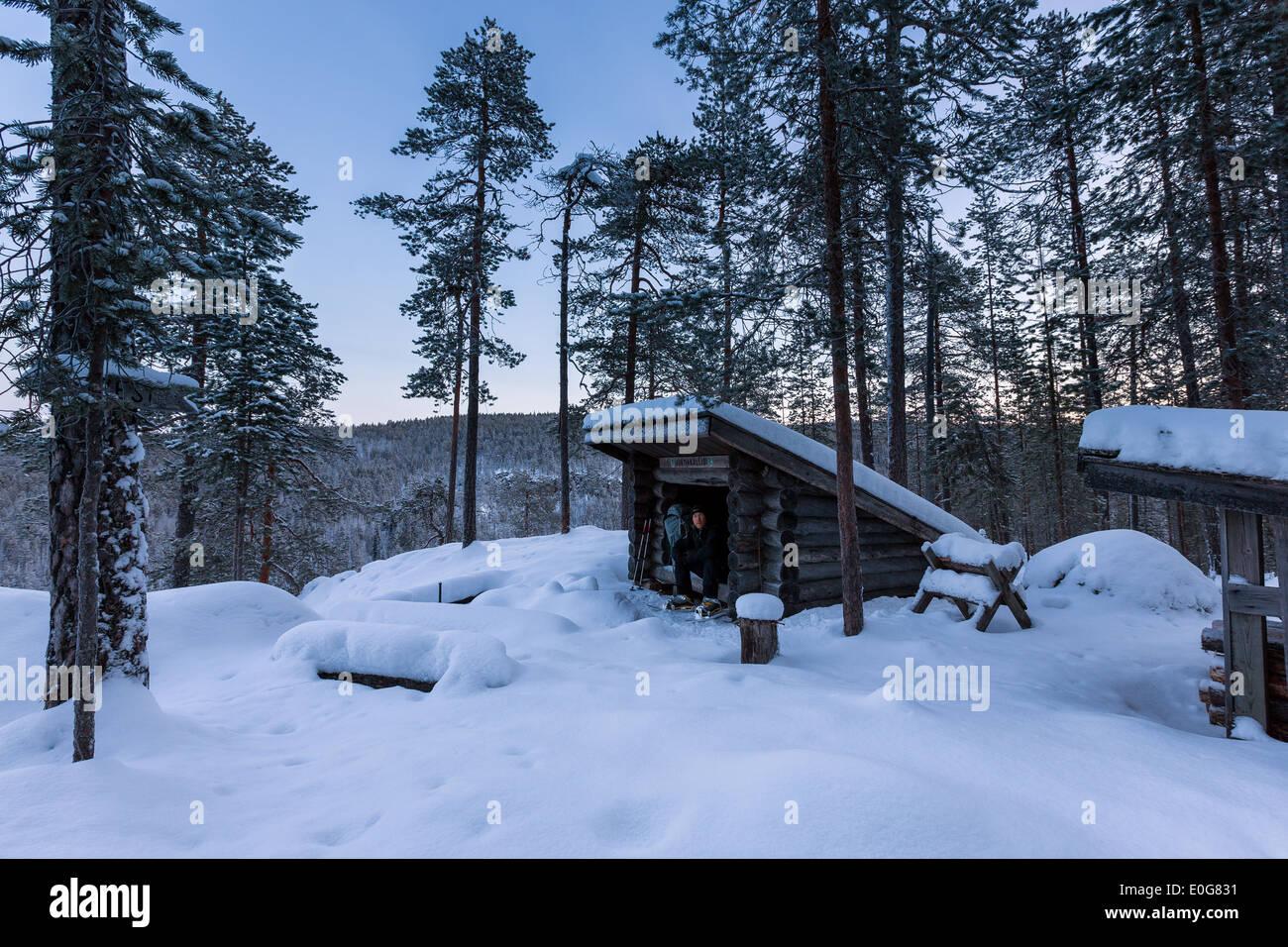 Julmakallio lean-to at Korouoma, Posio, Finland, EU - Stock Image