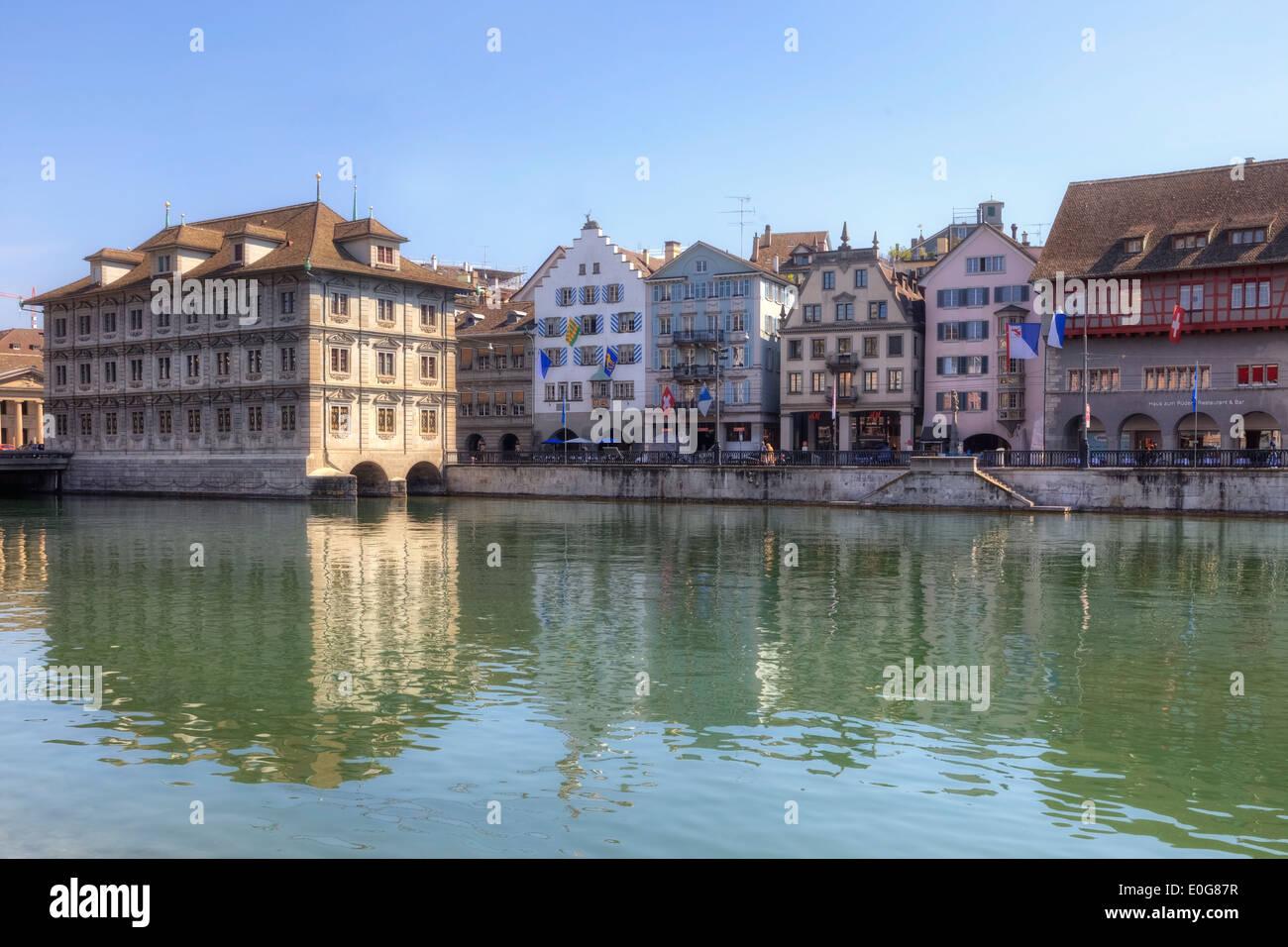 Zurich, town hall, Limmat, Switzerland - Stock Image
