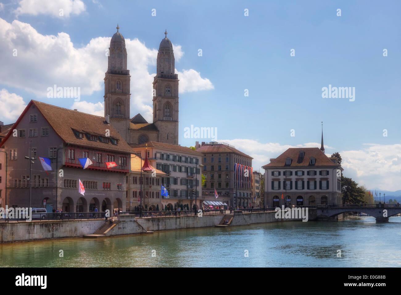 Zurich, Grossmuenster, Limmat, Switzerland - Stock Image