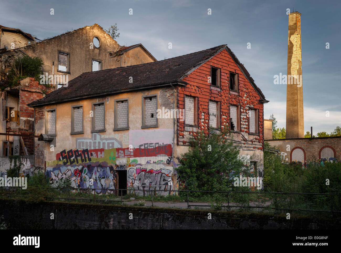 Spinnerei Jakobstal, abandoned spinning mill, Bülach, Canton of Zurich, Switzerland. - Stock Image