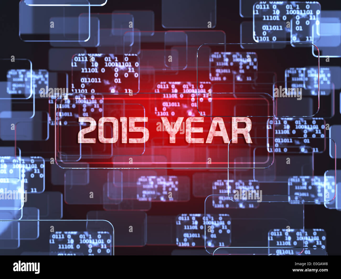 Future technology smart glass red touchscreen interface. 2015 year screen concept - Stock Image