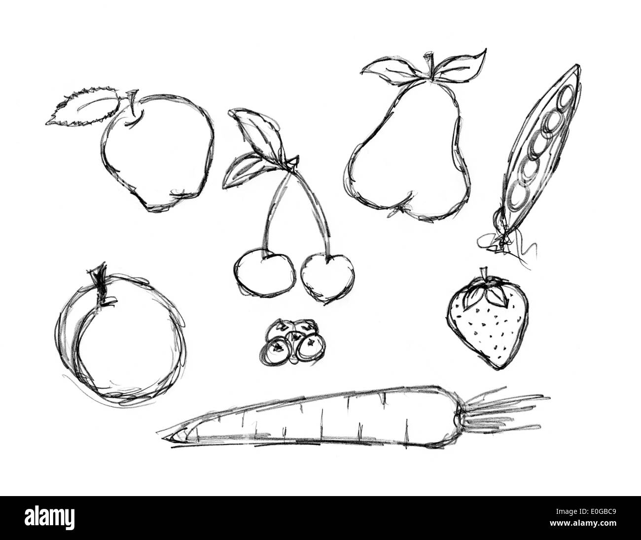 Various Fruit And Vegetable Doodle Set Apple Cherry Pear Strawberry Peach Carrot
