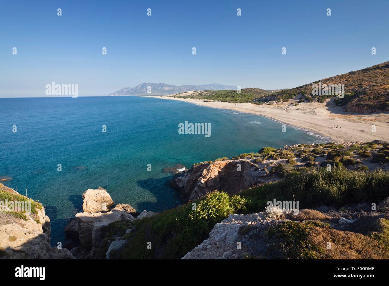 Sandy beach of Patara, lycian coast, Mediterranean Sea, Turkey - Stock Image