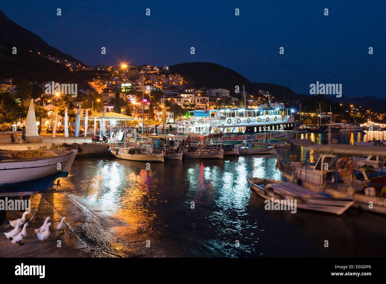 Kas harbour at night, lycian coast, Lycia, Mediterranean Sea, Turkey, Asia - Stock Image