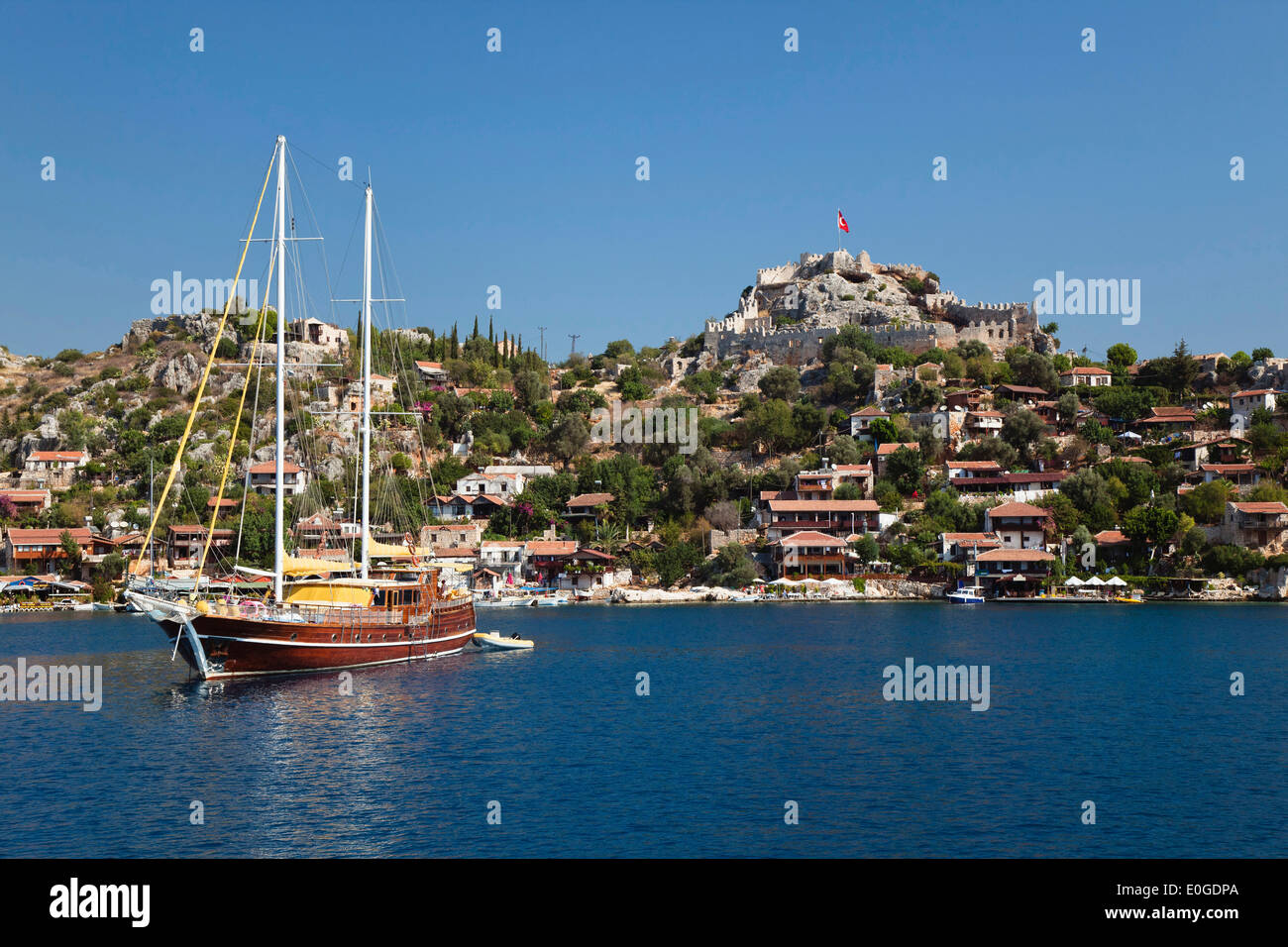 Simena with Kalekoy castle, lycian coast, Mediterranean Sea, Turkey Stock Photo