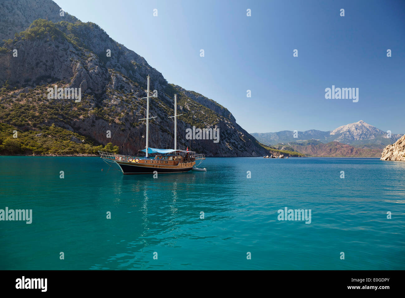 Sailing along the lycian coast, Ceneviz bay near Cirali, Lycia, Mediterranean Sea, Turkey, Asia Stock Photo