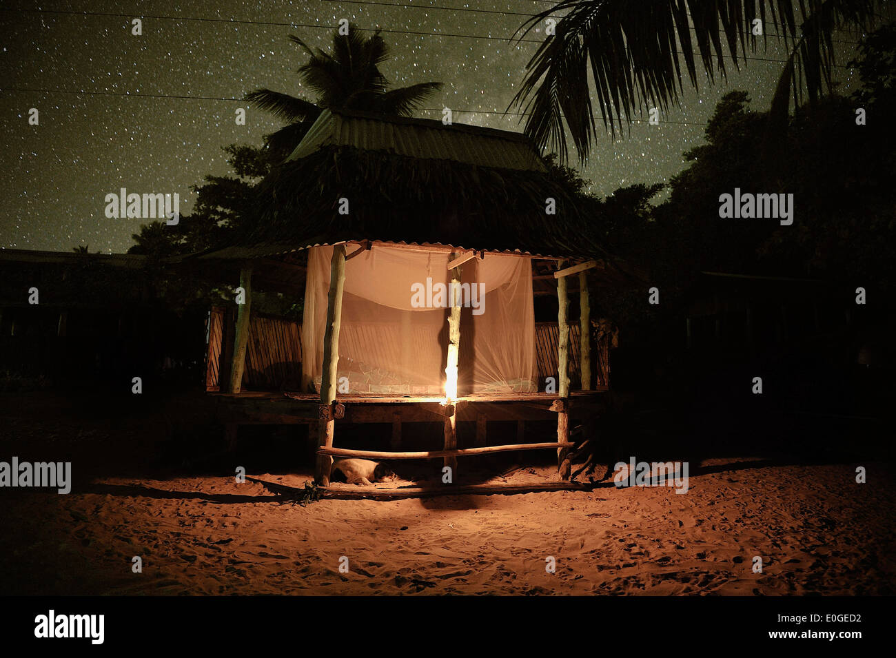 Stars above a fale, traditional samoan accomodation without walls, Return to Paradise Beach, Upolu, Samoa, South Pacific - Stock Image