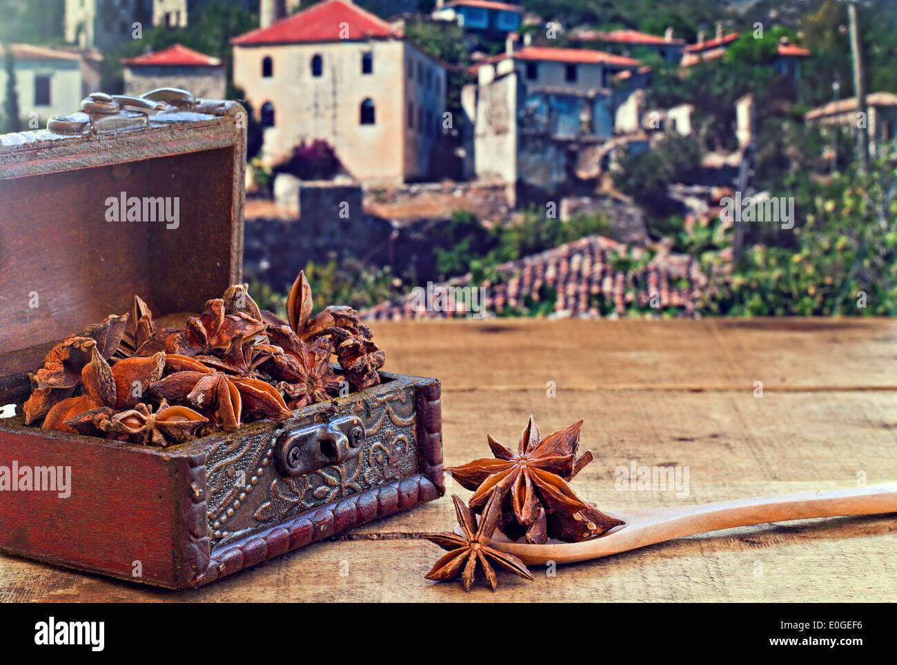 Star Anise Spice On Rustic Wooden Table With Old Countryside
