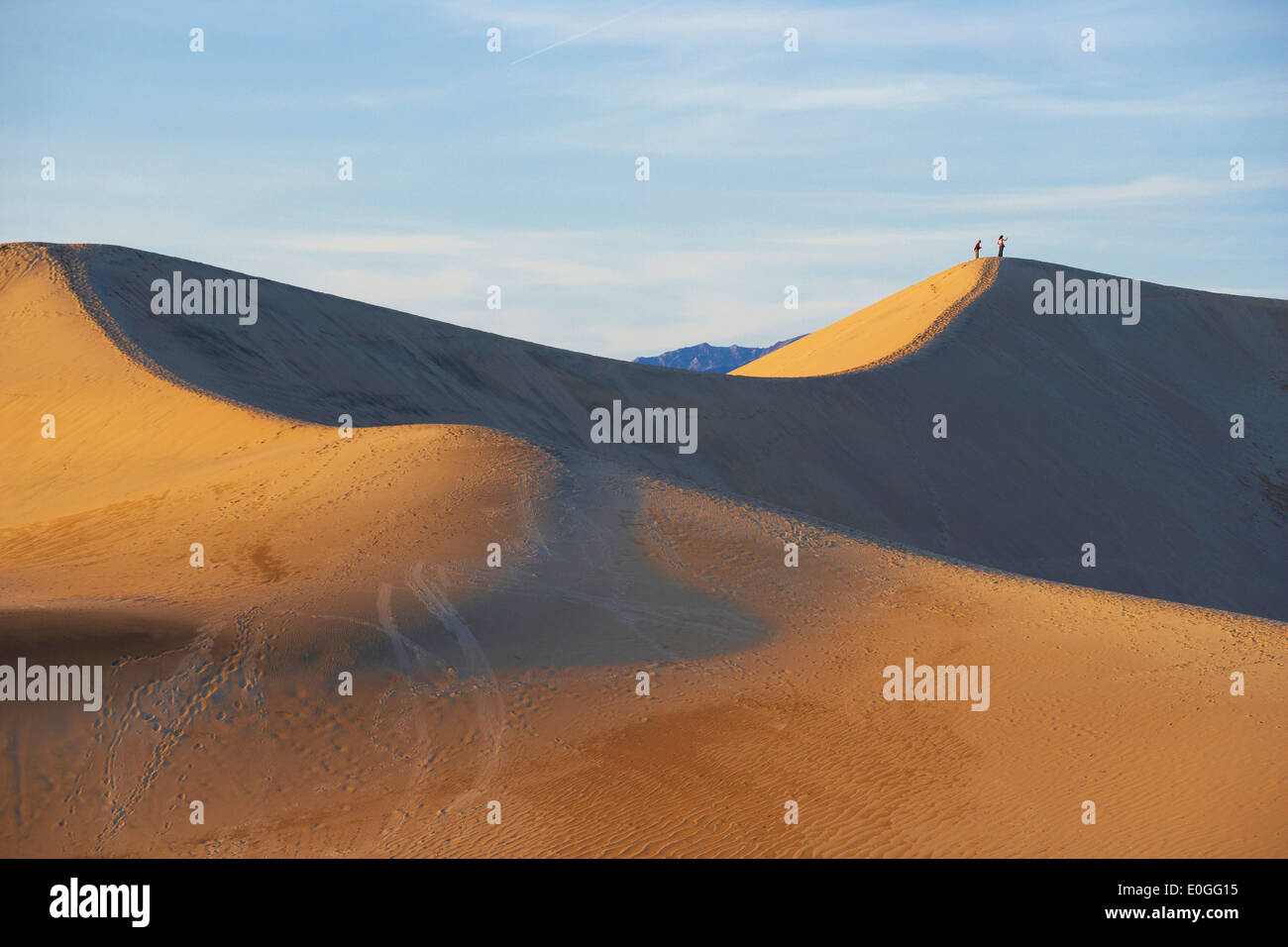 View of Mesquite Flat Sand Dunes in the evening light, Death Valley National Park, California, USA, America - Stock Image