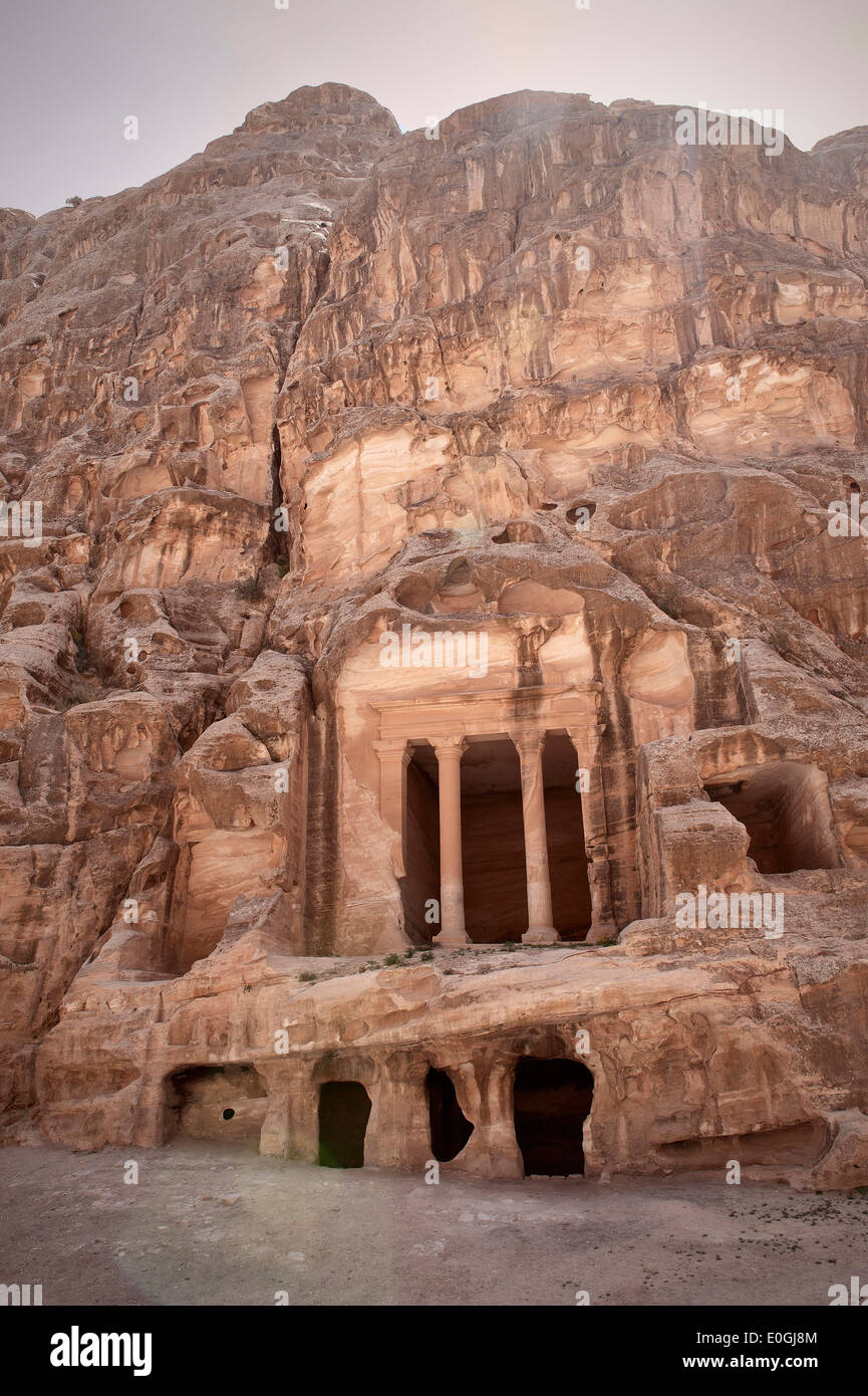 Rock temple at Little Petra, Wadi Musa, Jordan, Middle East, Asia - Stock Image