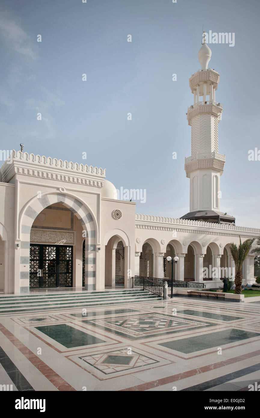 Atrium of the Al Sharif Al Hussein bin Ali Mosque, Gulf of Aqaba, Red Sea, Jordan, Middle East, Asia - Stock Image