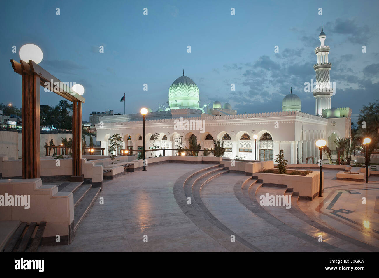 Illuminated Al Sharif Al Hussein bin Ali Mosque at night, Gulf of Aqaba, Red Sea, Jordan, Middle East, Asia - Stock Image