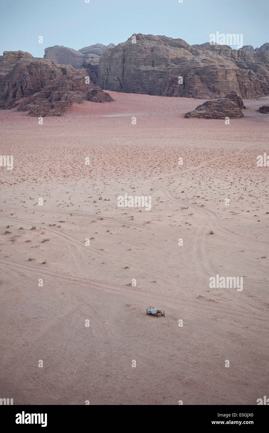 Bed in the open in the desert, Wadi Rum, Jordan, Middle East, Asia - Stock Image